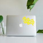 Wave vinyl sticker waterproof by Fabi Aguilar surf tribal illustration laptop