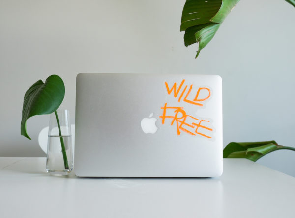 Wild Free vinyl sticker waterproof by Fabi Aguilar surf tribal illustration